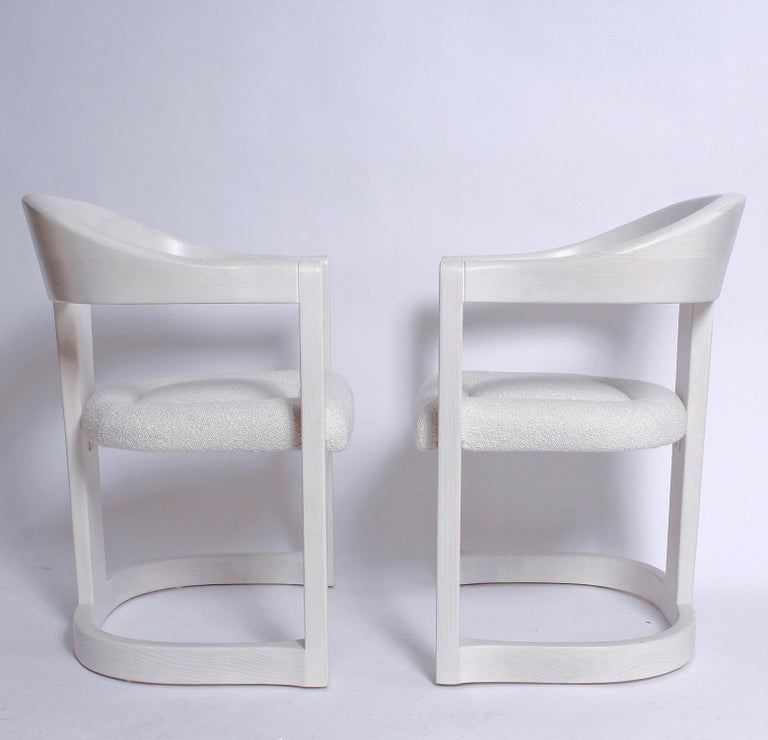 Late 20th Century Pair of Signed Springer Bleached Oak Onassis Chairs, 1983 - Two Pairs Available For Sale