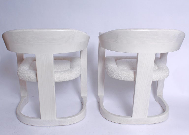 Pair of Signed Springer Bleached Oak Onassis Chairs, 1983 - Two Pairs Available For Sale 1