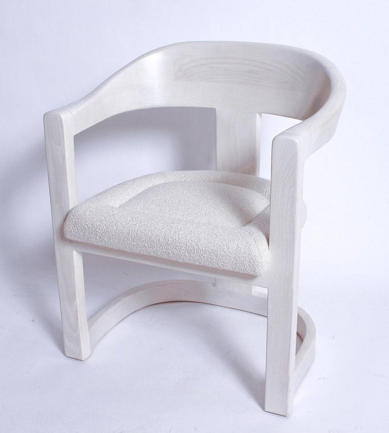 Pair of Signed Springer Bleached Oak Onassis Chairs, 1983 - Two Pairs Available For Sale 2