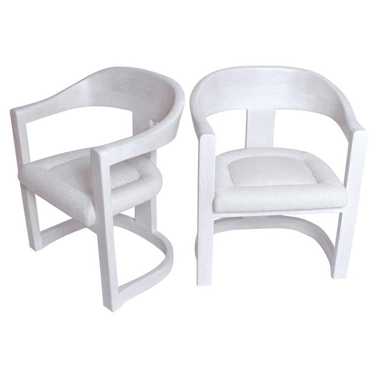 Pair of Signed Springer Bleached Oak Onassis Chairs, 1983 - Two Pairs Available For Sale
