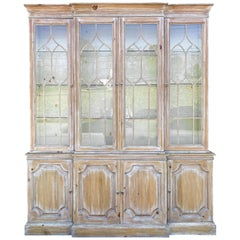 Bleached Pine Chinese Chippendale Style Cabinet by Davis Cabinet Company