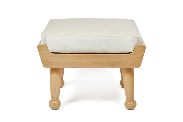 Designed to coordinate with our Hayworth outdoor lounge chair. Cushion is made from outdoor dry-fast foam. Base and legs are made of bleached & lightly cerused teak with slats for drainage.  Dimensions: 22.5
