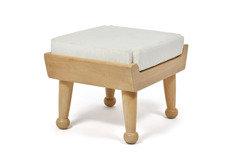 American Bleached Teak Hayworth Outdoor Ottoman by August Abode with Upholstered Cushion For Sale