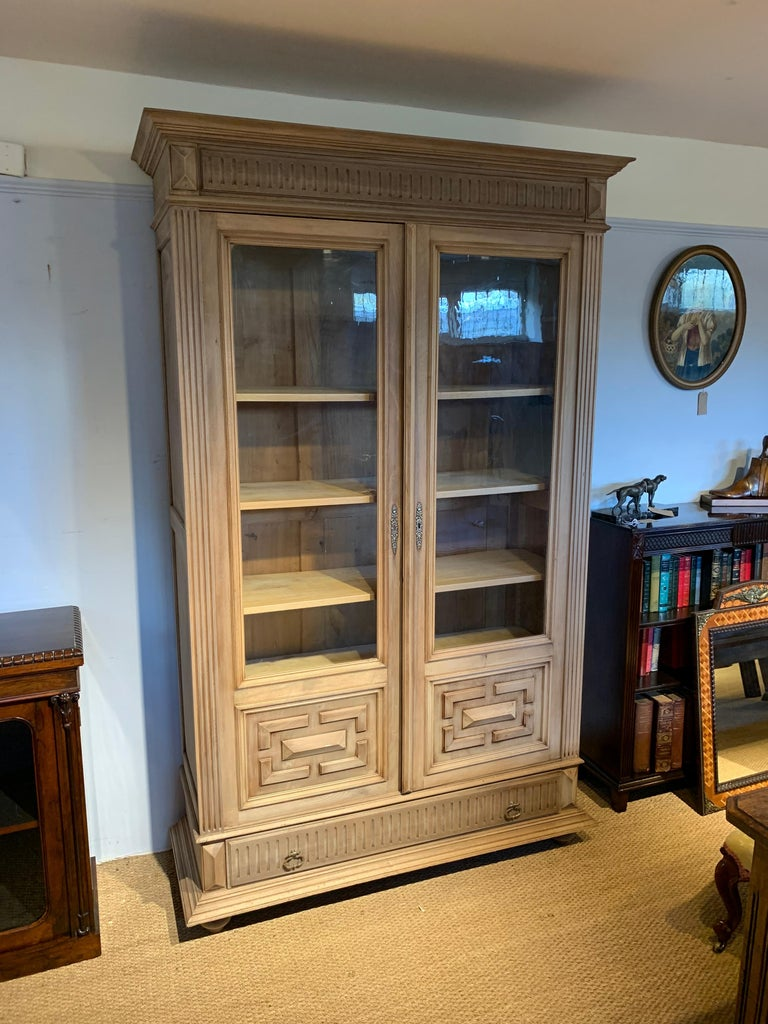 Great late 19th century solid walnut 2 door bookcase , stripped wood finish 