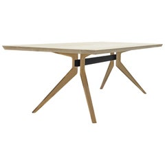 Bleached White Oak Dutch Table with Blackened Steel by Mark Jupiter