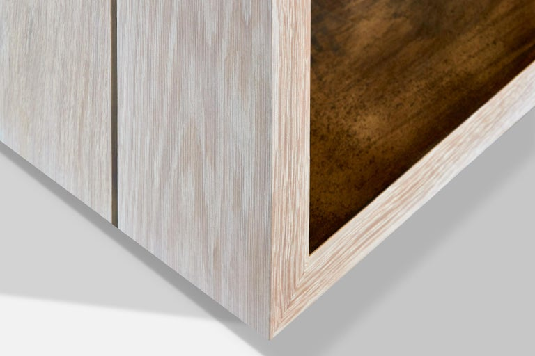 American Bleached White Oak With Brass Shelf Cliffside Nightstand by Casey McCafferty For Sale