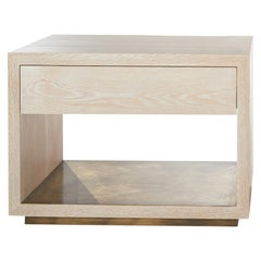 Bleached White Oak With Brass Shelf Cliffside Nightstand by Casey McCafferty