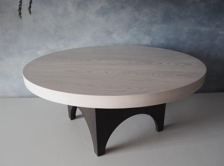 White Washed Beech Coffee Table Oxidised Oak Base Round Msj Furniture Studio