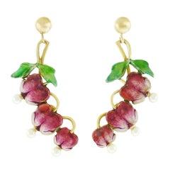 Bleeding Heart Enameled Gold Earrings
