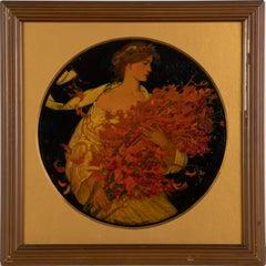 """Antique Art Nouveau Signed """"Fall Flower Harvest"""" Young Woman Portrait Painting"""