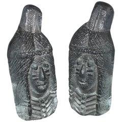 Blenko Art Glass Bookends Indian Sculptures