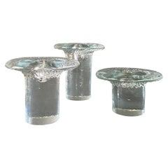 Blenko Art Glass Mushroom Candlesticks, circa 1975