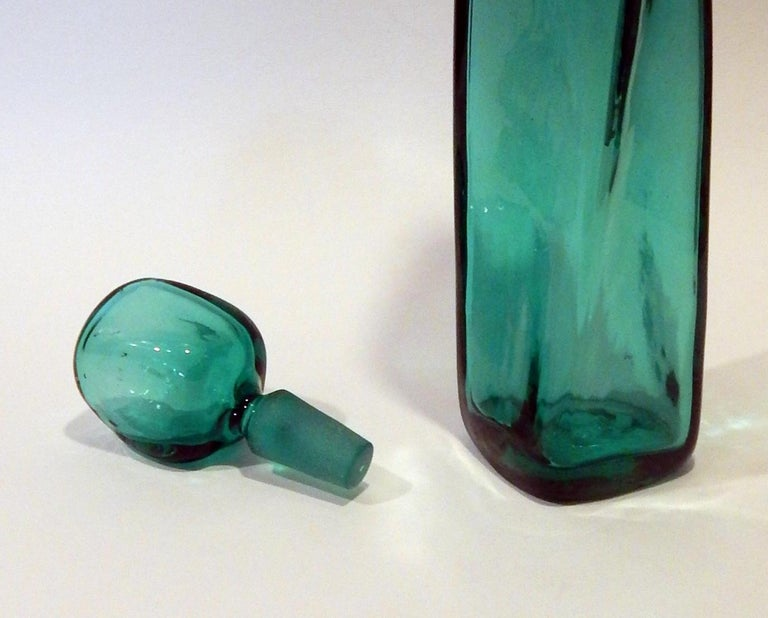 Wayne Husted Twist Art Glass Decanter with Stopper for Blenko in Seagreen For Sale 1