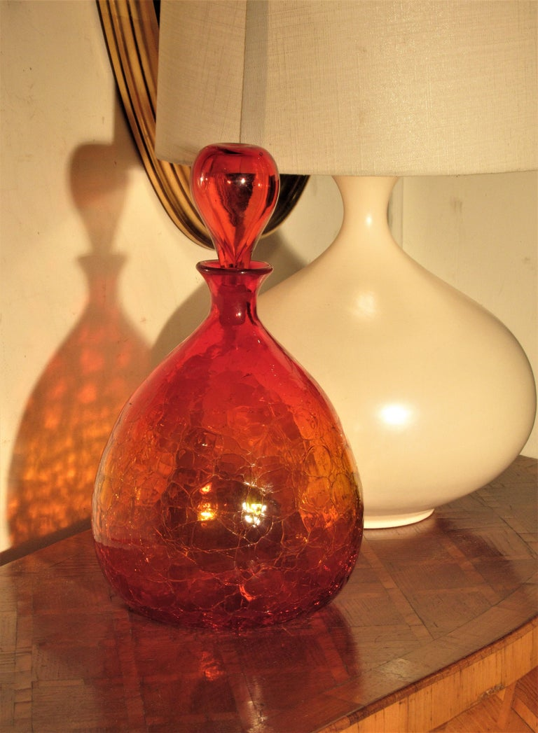 Blenko Crackle Glass Decanter Bottle by Wayne Husted 7