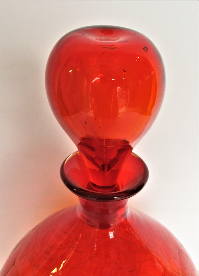 Mid-Century Modern Blenko Crackle Glass Decanter Bottle by Wayne Husted