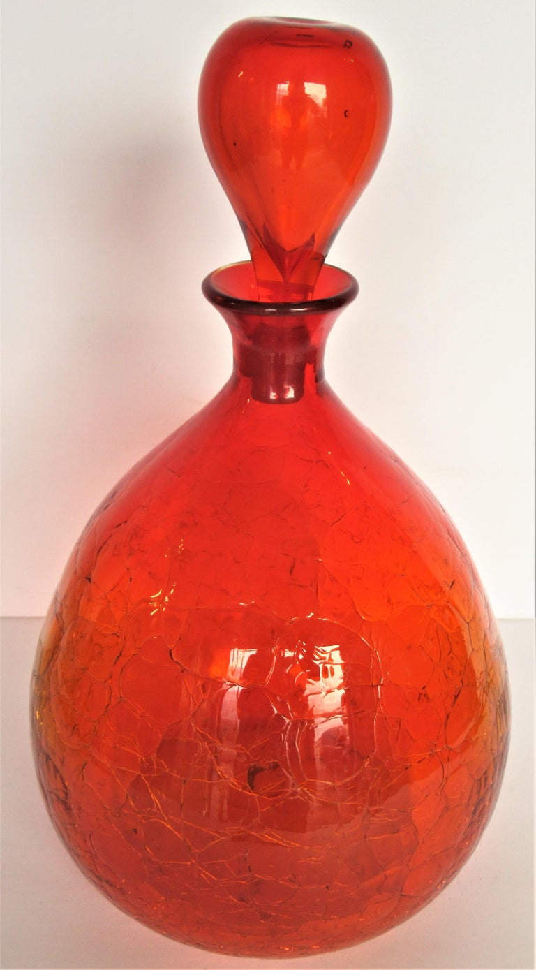 20th Century Blenko Crackle Glass Decanter Bottle by Wayne Husted