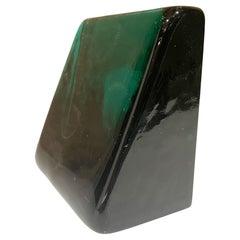 Blenko Emerald Green Art Glass Modernist Wedge Block Bookend Wayne Husted 1960s