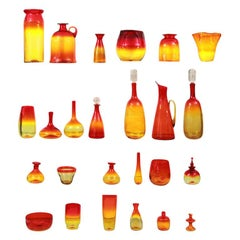 Blenko Glass Ensemble by Wayne Husted in Red, Yellow & Orange Tones