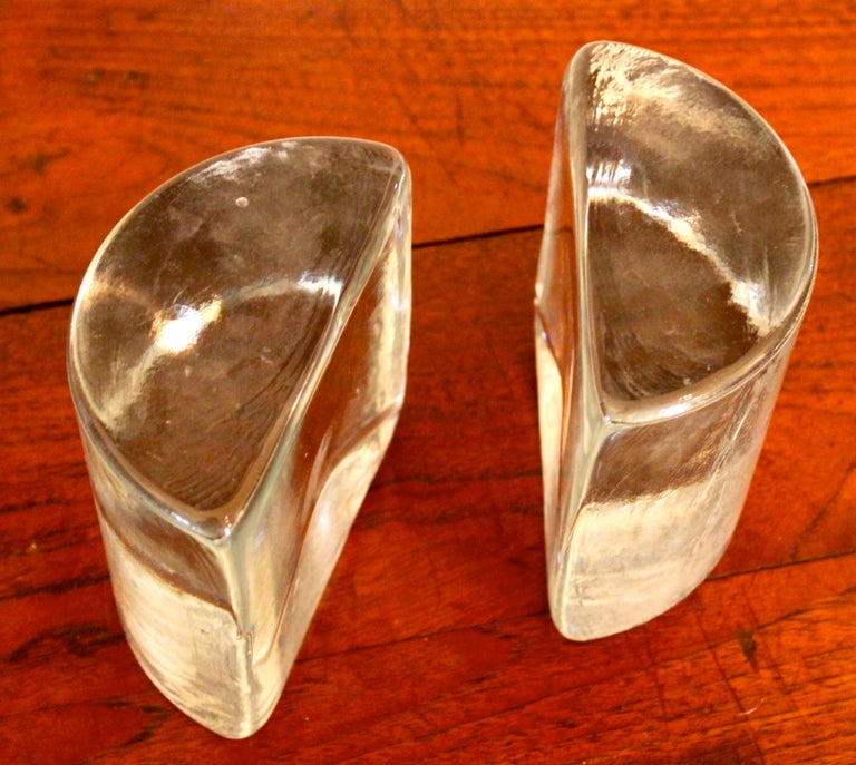 Blenko Half Circle Bookends In Good Condition For Sale In Los Angeles, CA