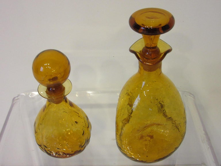 Mid-Century Modern Blenko Hand Blown Decanters by Husted and Anderson For Sale