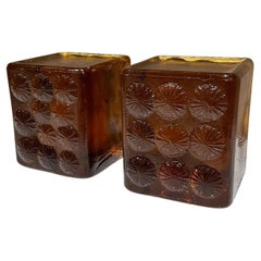 Blenko Ice Block Bookends in Amber Glass Abstract Flower Design 1967 Joel Myers