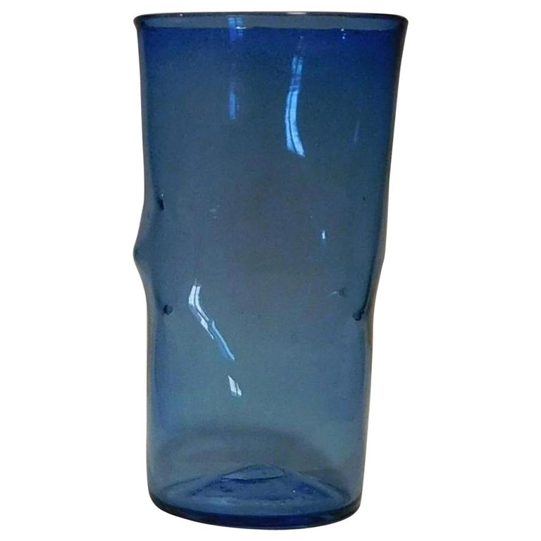 Blenko Large Pinched Vase in Bright Blue, Mint Condition For Sale
