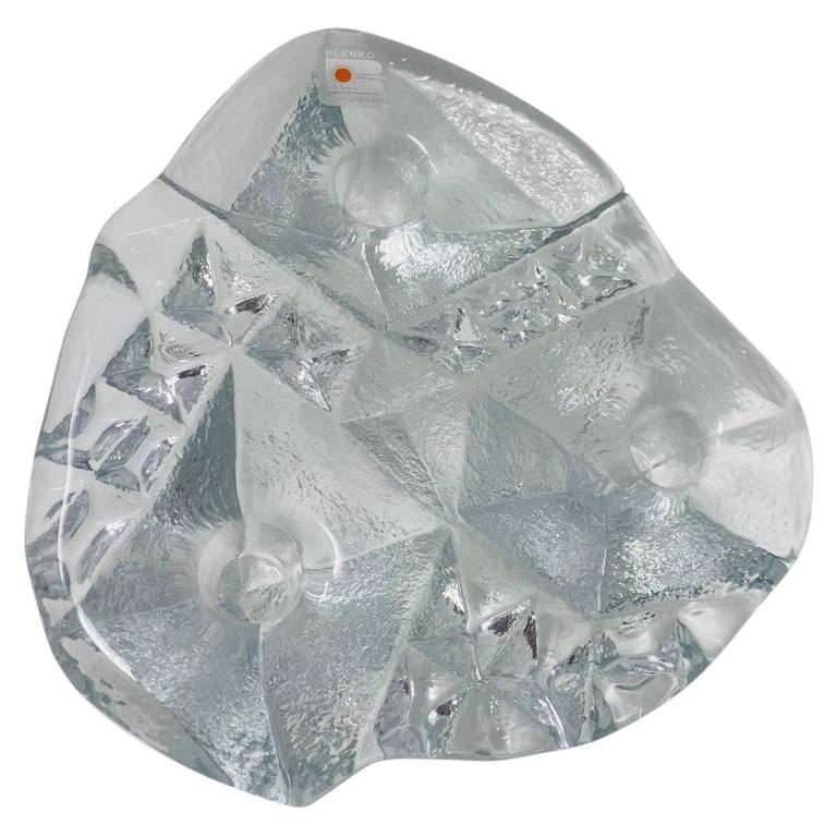 Blenko Midcentury Glass Sculptural Candleholder For Sale