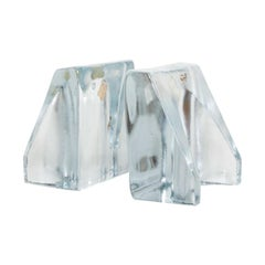 Blenko Sculptural Glass Wedge Bookends by Wayne Husted, Mid-Century Modern