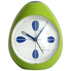 Blessing Pear Shape Clock West Germany Green and Blue Retro, circa 1968