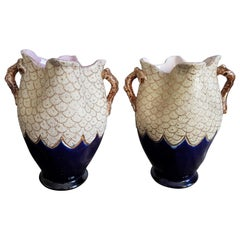 Bleu de Sèvres and Gold Pair of Vases, Mid-Century Modern, France, 1950