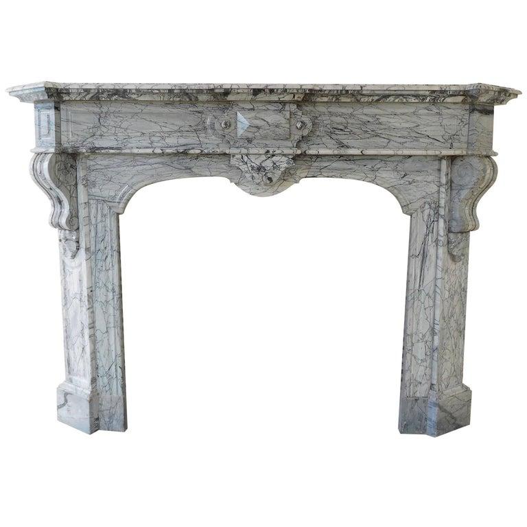 Bleu Fleuri Marble Fireplace For Sale