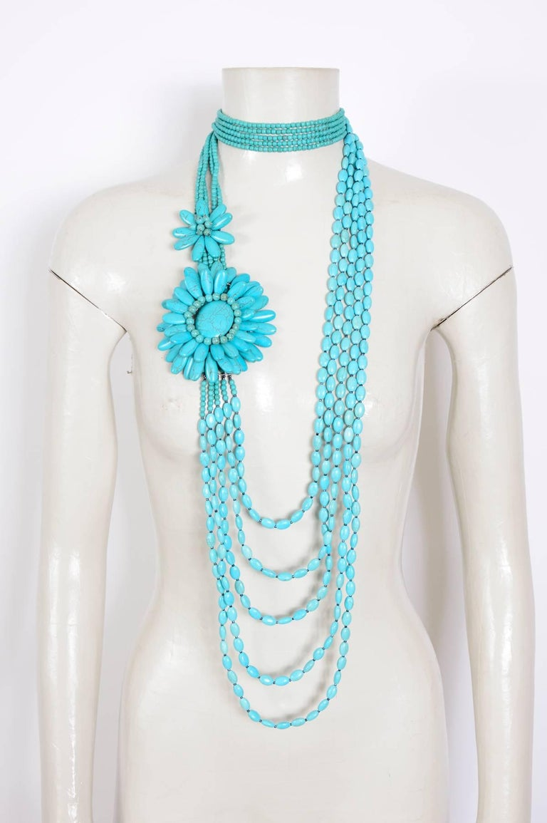 Bleu Turquoise Beaded Boho Style Opera Length Necklace For Sale At