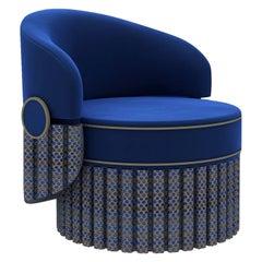 Blue Velvet and Leather Armchair