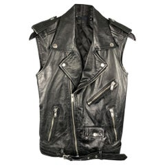 BLK DNM Size S Black Leather Zipper Pockets Zip Up Biker Vest