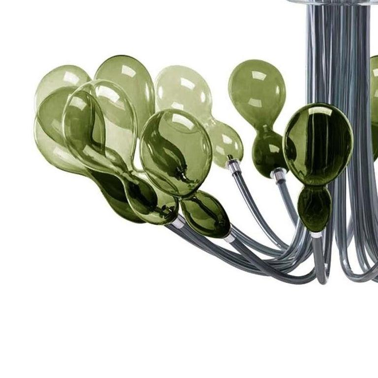 Italian Blob Sixteen-Light Dark-Green Chandelier by Karim Rashid For Sale