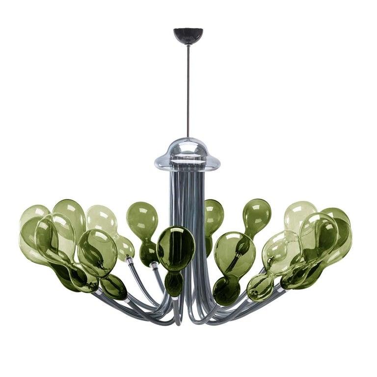 Blob Sixteen-Light Dark-Green Chandelier by Karim Rashid For Sale