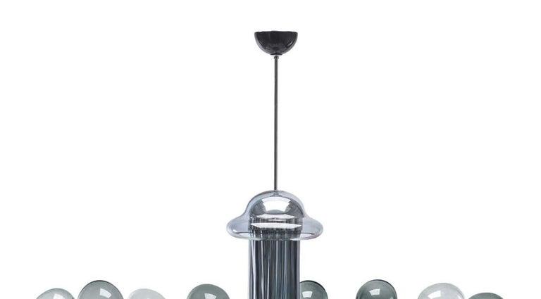 Italian Blob Sixteen-Light Gray Chandelier by Karim Rashid For Sale