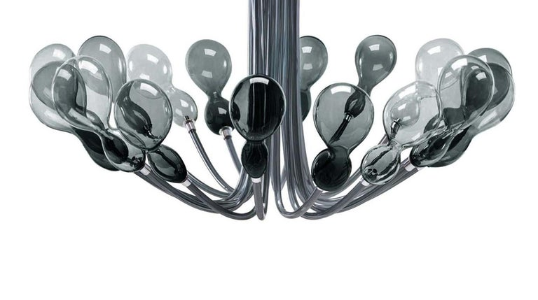 Blob Sixteen-Light Gray Chandelier by Karim Rashid In New Condition For Sale In Milan, IT