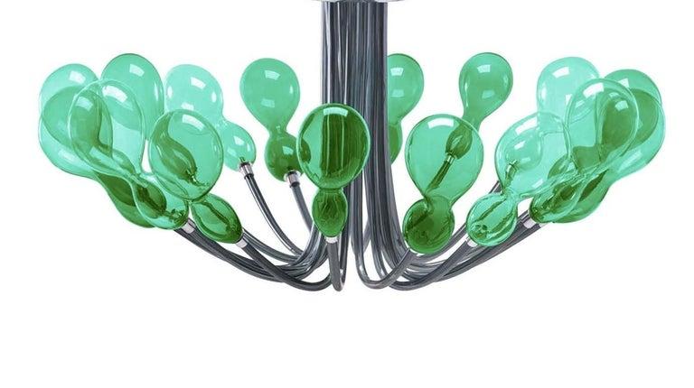 Italian Blob Sixteen-Light Green Chandelier by Karim Rashid For Sale