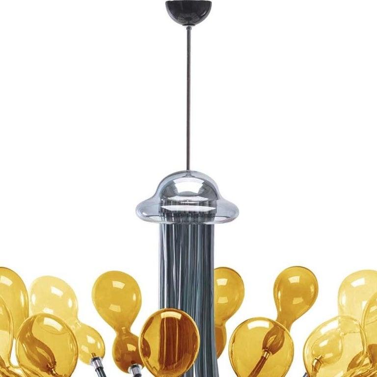 Italian Blob Sixteen-Light Yellow Handelier by Karim Rashid For Sale