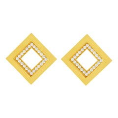 Blochliger Diamond Set Modernist Gold Earrings