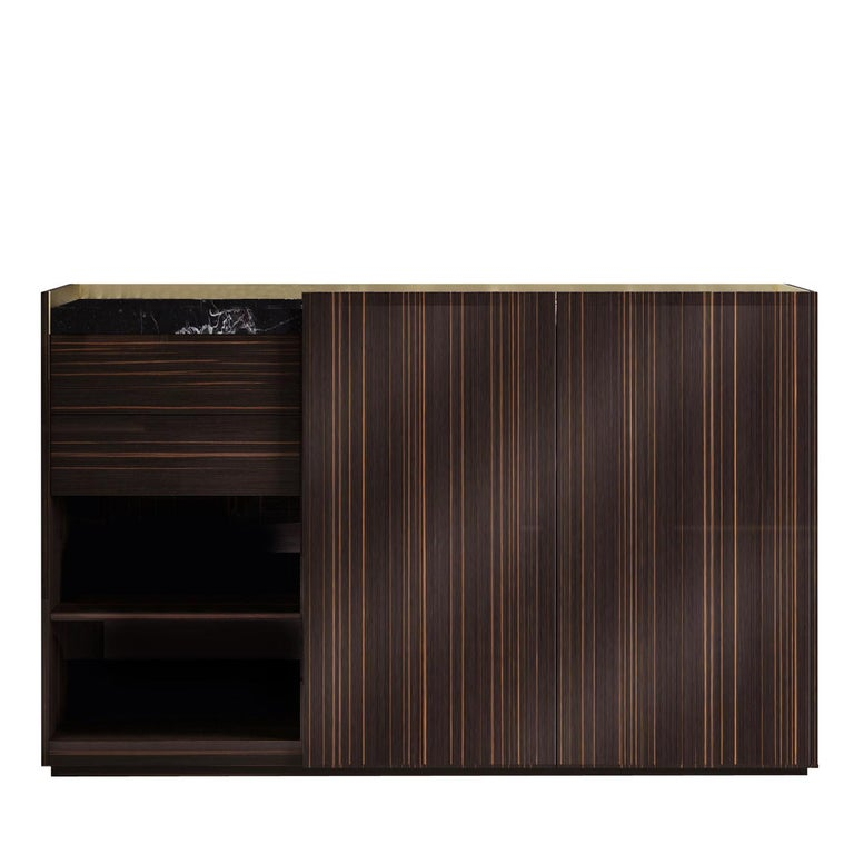 Hand-Crafted Block 2.0 Ebony Wood Sideboard with Marquinia Marble Top For Sale