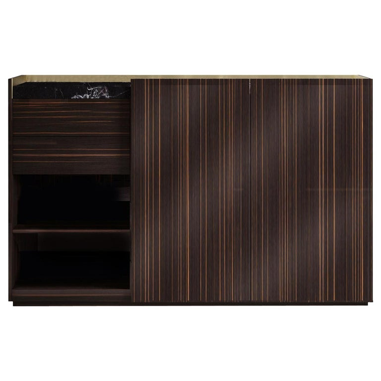 Block 2.0 Ebony Wood Sideboard with Marquinia Marble Top For Sale