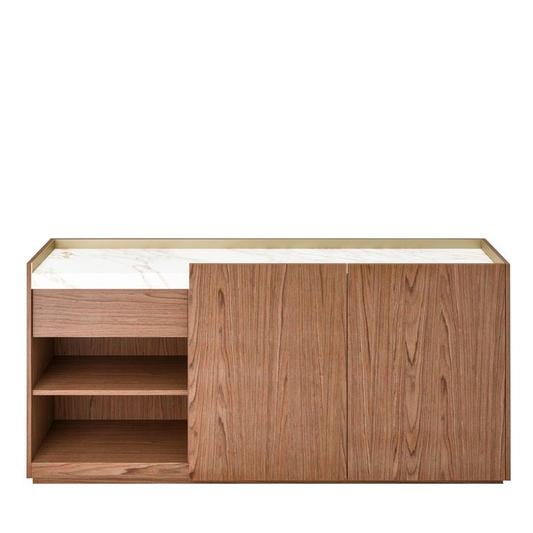 Hand-Crafted Block 2.0 Sideboard in Walnut with Carrara Marble Top For Sale