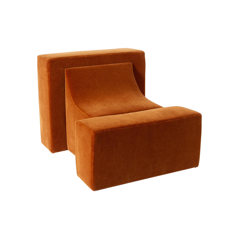 Block Lounge Chair Upholstered in Maharam Velvet Mohair by Estudio Persona