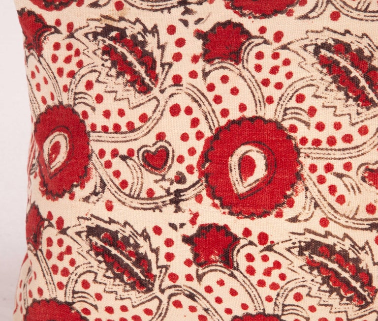 Hand-Woven Block Print Lumbar Pillow Case made from an Uzbek Print, Early 20th Century For Sale