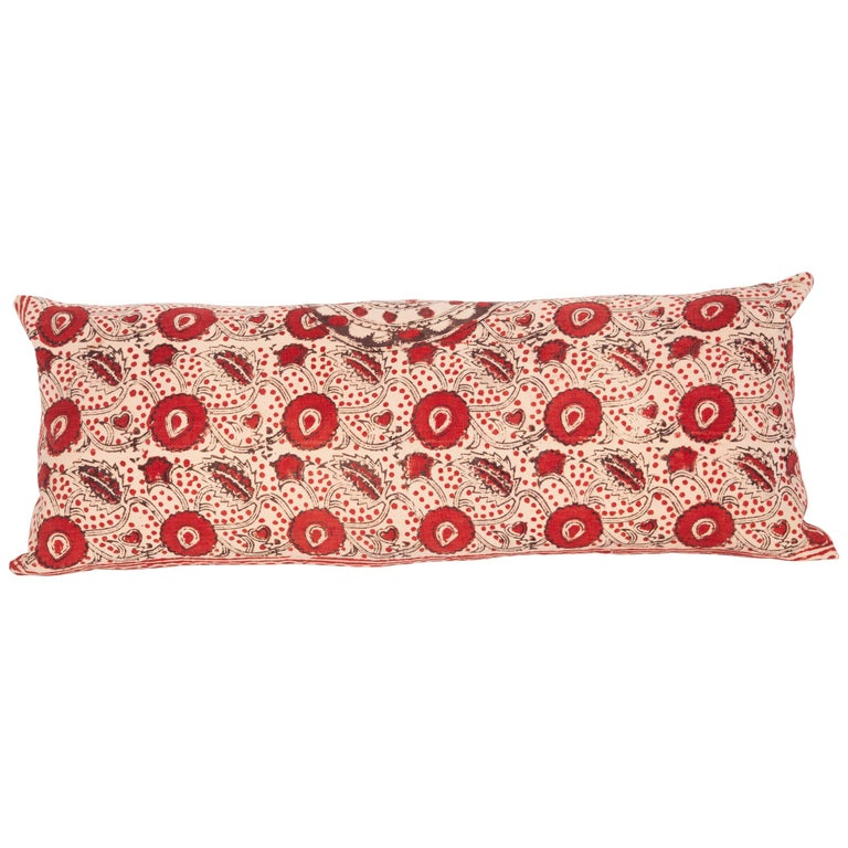 Block Print Lumbar Pillow Case made from an Uzbek Print, Early 20th Century For Sale