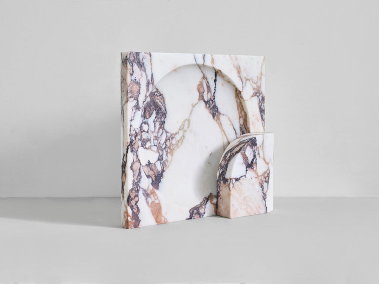 Block sconce in Calacatta Viola Marble by Henry Wilson This sculptural item is handmade in Sydney, Australia.  The block sconce in Calacatta Viola marble is a two-piece stone light with captured bulb. Concealed mounting plate fixes the front and