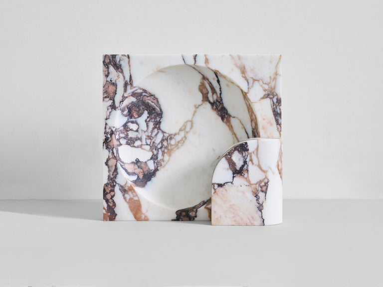 Modern Block Sconce in Calacatta Viola Marble by Henry Wilson For Sale