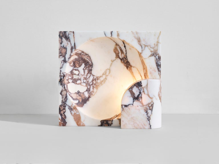 Australian Block Sconce in Calacatta Viola Marble by Henry Wilson For Sale
